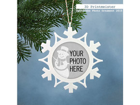 Christmas Snowflake Photo Ornament in White Processed Versatile Plastic