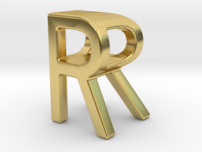 Two way letter pendant - RR R in Polished Brass