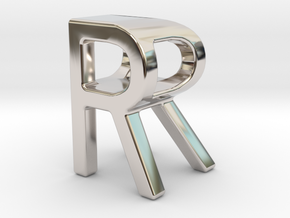Two way letter pendant - RR R in Rhodium Plated Brass