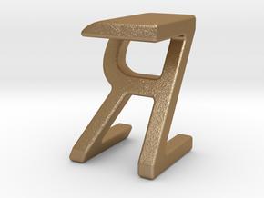 Two way letter pendant - RZ ZR in Matte Gold Steel