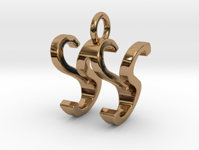 Two way letter pendant - SW WS in Polished Brass