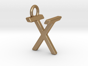 Two way letter pendant - TX XT in Matte Gold Steel