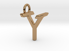 Two way letter pendant - TY YT in Polished Brass