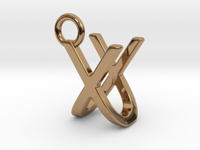 Two way letter pendant - UX XU in Polished Brass