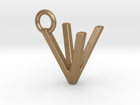 Two way letter pendant - VV V in Green Processed Versatile Plastic