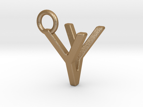 Two way letter pendant - VY YV in Matte Gold Steel