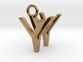 Two way letter pendant - WY YW in Polished Brass