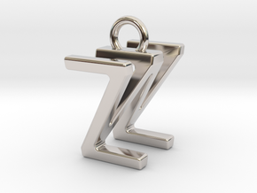 Two way letter pendant - WZ ZW in Rhodium Plated Brass