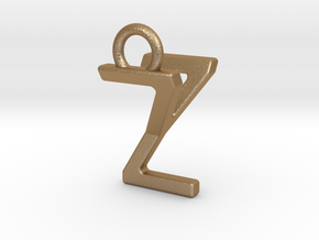 Two way letter pendant - YZ ZY in Matte Gold Steel