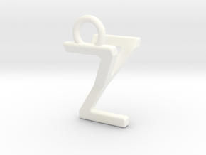 Two way letter pendant - YZ ZY in White Processed Versatile Plastic