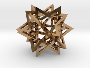 Tetrahedron 6 Compound in Polished Brass