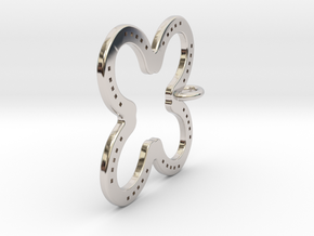 Tilted Horseshoe with luck in Rhodium Plated Brass
