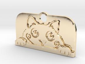 Voyeur Cat Pendant - Small in 14K Yellow Gold