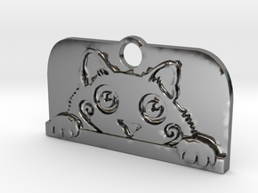 Voyeur Cat Pendant - Small in Fine Detail Polished Silver