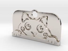 Voyeur Cat Pendant - Small in Platinum