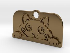 Voyeur Cat Pendant - Small in Polished Bronze