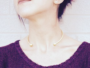 VIBES - Solid Choker Size S in Polished Gold Steel