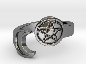 Crescent Moon and Pentacle Ring Size 8.25 in Fine Detail Polished Silver