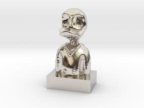 Duck in Rhodium Plated Brass