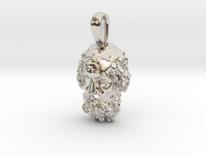 Portrait of the Blind Homer, pendant in Rhodium Plated Brass