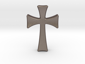 Germanic Cross Pendant, 45mm Tall in Polished Bronzed Silver Steel