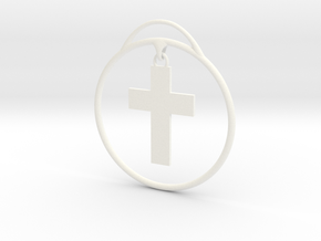 Cross Christmas Ornament in White Strong & Flexible Polished