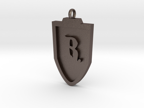 Medieval R Shield Pendant in Polished Bronzed Silver Steel