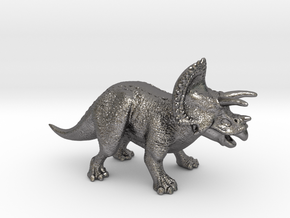 Triceratops Game Piece in Polished Nickel Steel