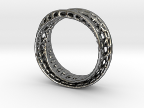 Twisted Bond Ring 18,5mm in Fine Detail Polished Silver