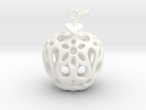 Apple Heart Ornament in White Processed Versatile Plastic