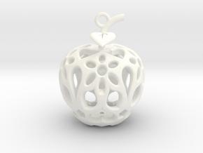 Apple Heart Ornament in White Processed Versatile Plastic