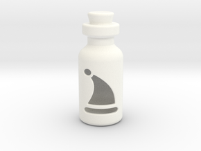 Small Bottle (Christmas Hat) in White Processed Versatile Plastic