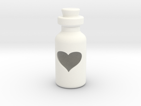 Small Bottle (heart) in White Processed Versatile Plastic