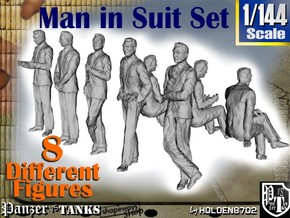 1-144 Man In Suit SET in Smooth Fine Detail Plastic