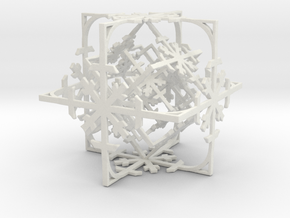 Snowflake Cube (Christmas Tree bauble?) in White Strong & Flexible