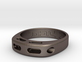 US12 Ring XX: Tritium (Stainless Steel) in Polished Bronzed Silver Steel