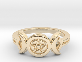 Triple Moon Pentacle Decorated Band Ring Size 8 in 14k Gold Plated Brass