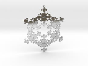 Snowflake Fractal 1 Customizable in Fine Detail Polished Silver