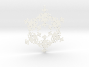 Snowflake Fractal 1 Customizable in White Processed Versatile Plastic