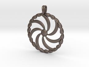 Borjgali Sun Tree Jewelry symbol Pendant. in Polished Bronzed Silver Steel
