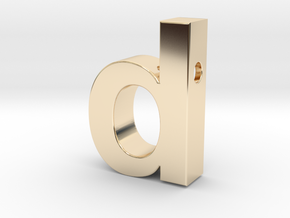 letter d pendant in helvetica font in 14K Yellow Gold