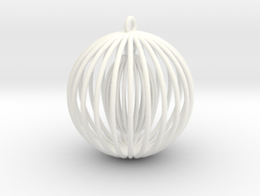 Double cage - Christmas Tree Ornament (Bauble) in White Processed Versatile Plastic