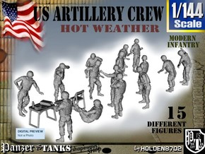 1-144 US Artillery Crew Hot Weather in Smooth Fine Detail Plastic