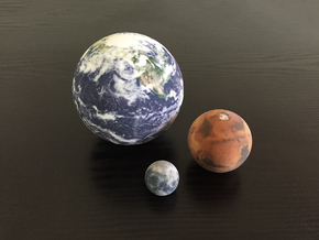 Earth, Moon & Mars to scale in Full Color Sandstone