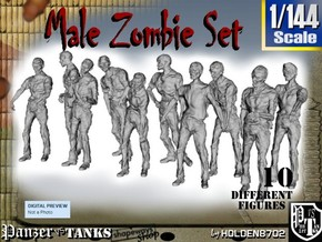 1-144 Male Zombie Set in Smooth Fine Detail Plastic