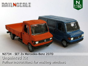 SET 2x Mercedes-Benz 207D (N 1:160) in Smooth Fine Detail Plastic