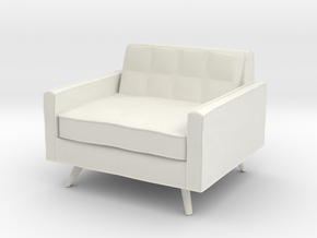 1:24 Mid-Century Square Chair in White Natural Versatile Plastic
