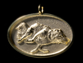 """Agility Dog Pendant - 1 1/4 """" Border Collie. in 18k Gold Plated Brass"""