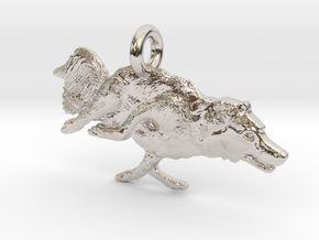 """Agility Dog Pendant 1.17 """" (2.98cm) Border Collie. in Rhodium Plated Brass"""