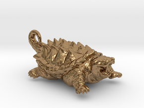 American Alligator Snapping Turtle Pendant in Natural Brass